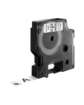 Taśma D1 - 12 mm x 5.5 m - POLIESTROWA TRWAŁA, czarny / biały - 5411313169592 -  S0718060 - 1