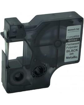 RHINO taśma poliestrowa trwała 6mm czarna na metalicznym - 71701059963 -  1805441 - 2