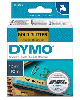 TAŚMA D1 - 12 MM X 3 M GOLD GLITTER, CZARNY / ZŁOTY -  -  2084349 - 1