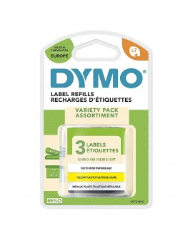 DYMO 3 taśmy 12mm/4m - papierowa biała, plastikowa żółta, metalowa - 5411313912419 -  S0721800 - 1