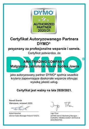 Dymo certyfikat